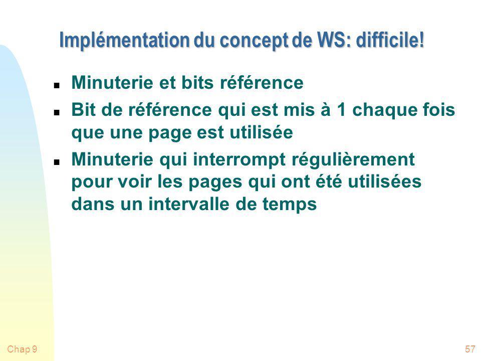 Chap 957 Implémentation du concept de WS: difficile! n Minuterie et bits référence n Bit de référence qui est mis à 1 chaque fois que une page est uti