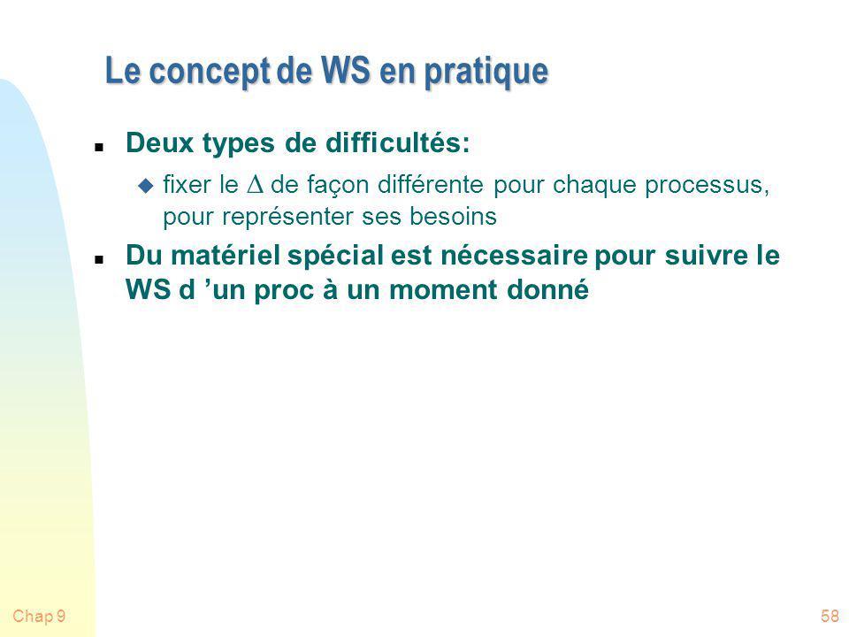 Chap 958 Le concept de WS en pratique n Deux types de difficultés: fixer le de façon différente pour chaque processus, pour représenter ses besoins n
