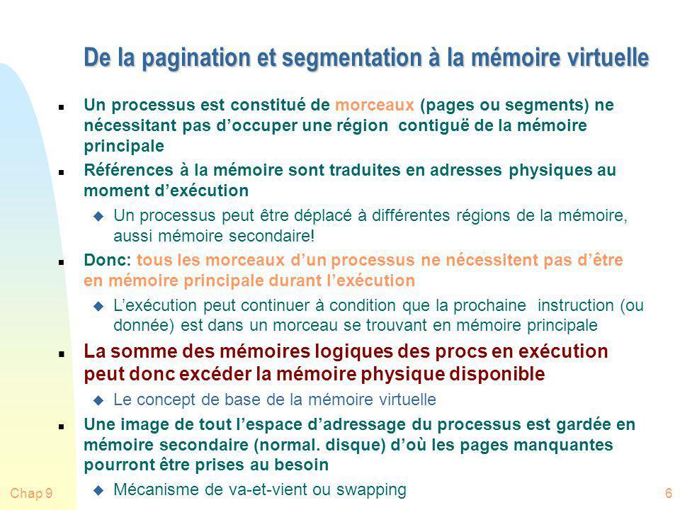 Chap 927 Explication et évaluation des algorithmes n Nous allons expliquer et évaluer les algorithmes en utilisant la chaîne de référence pages suivante (prise du livre de Stallings): 2, 3, 2, 1, 5, 2, 4, 5, 3, 2, 5, 2 n Attention: les séquences dutilisation pages ne sont pas aléatoires...