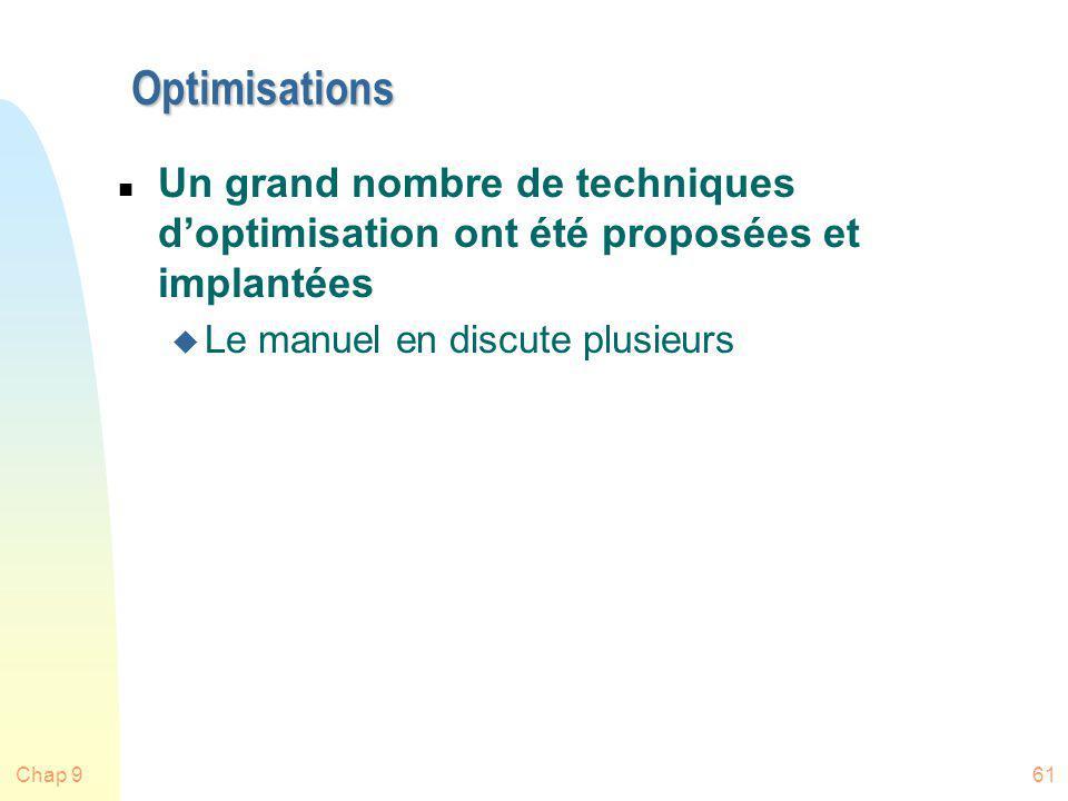 Chap 961 Optimisations n Un grand nombre de techniques doptimisation ont été proposées et implantées u Le manuel en discute plusieurs