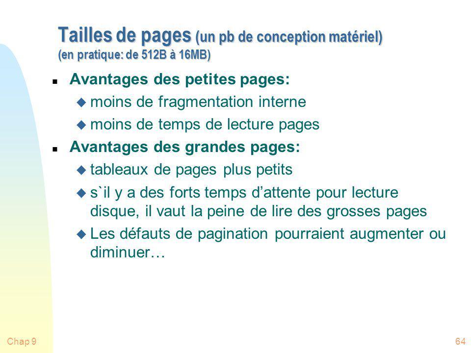 Chap 964 Tailles de pages (un pb de conception matériel) (en pratique: de 512B à 16MB) n Avantages des petites pages: u moins de fragmentation interne