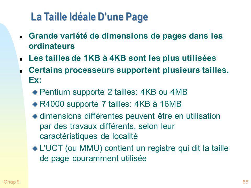 Chap 966 La Taille Idéale Dune Page n Grande variété de dimensions de pages dans les ordinateurs n Les tailles de 1KB à 4KB sont les plus utilisées n