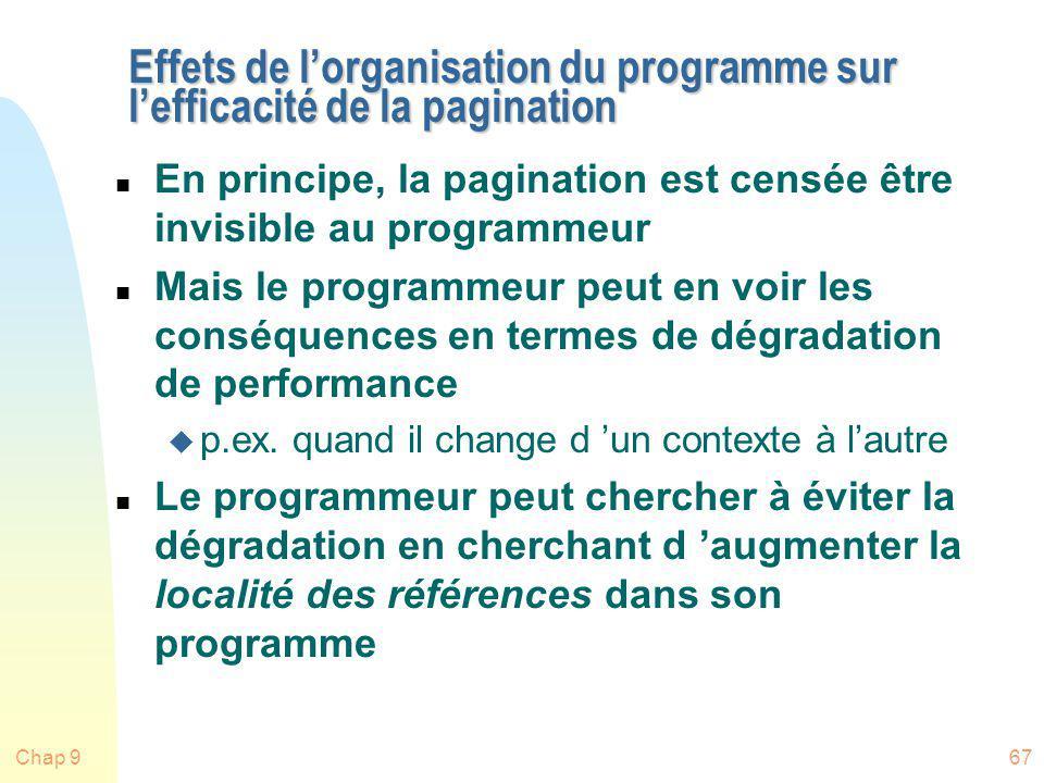 Chap 967 Effets de lorganisation du programme sur lefficacité de la pagination n En principe, la pagination est censée être invisible au programmeur n
