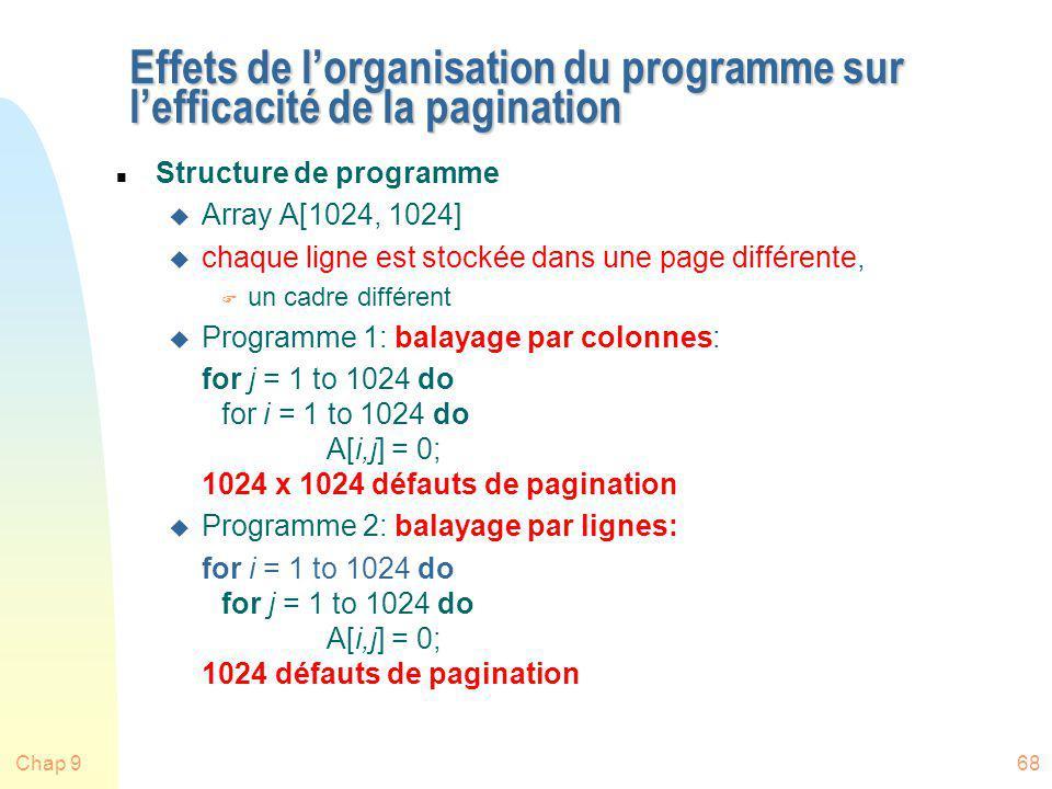 Chap 968 Effets de lorganisation du programme sur lefficacité de la pagination n Structure de programme u Array A[1024, 1024] u chaque ligne est stock