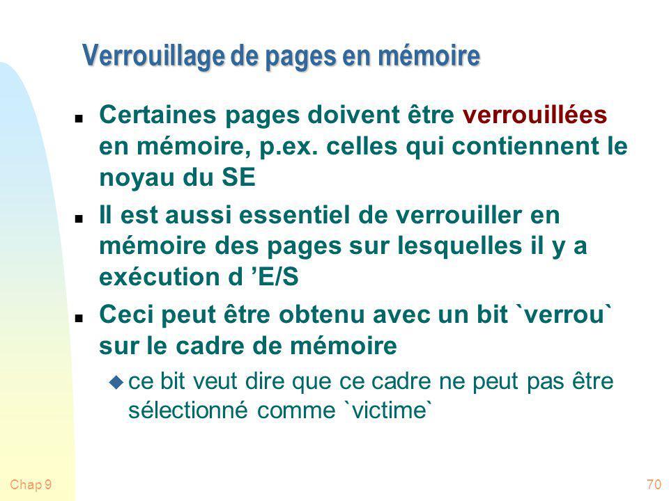 Chap 970 Verrouillage de pages en mémoire n Certaines pages doivent être verrouillées en mémoire, p.ex. celles qui contiennent le noyau du SE n Il est
