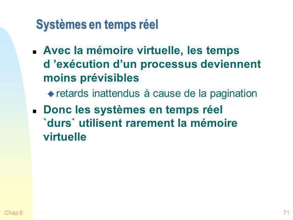 Chap 971 Systèmes en temps réel n Avec la mémoire virtuelle, les temps d exécution dun processus deviennent moins prévisibles u retards inattendus à c