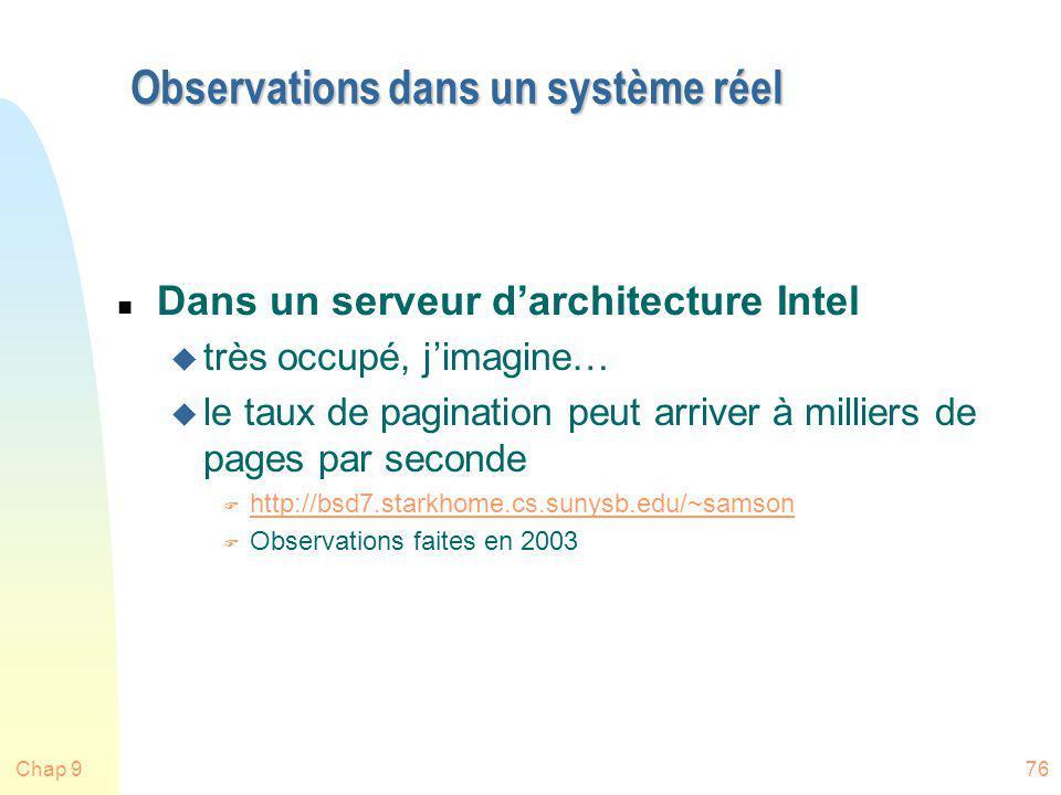 Chap 976 Observations dans un système réel n Dans un serveur darchitecture Intel u très occupé, jimagine… u le taux de pagination peut arriver à milli