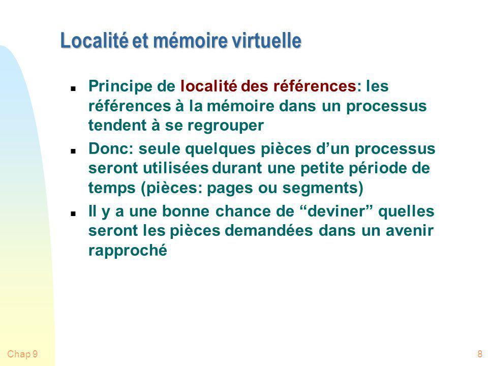 Chap 939 Matériel additionnel pour lalgo CLOCK n Chaque bloc de mémoire a un bit touché (use) n Quand le contenu du bloc est utilisé, le bit est mis à 1 par le matériel n Le SE regarde le bit u Sil est 0, la page peut être remplacée u Sil est 1, il le met à 0 1 Mémoire 0 0 0 1
