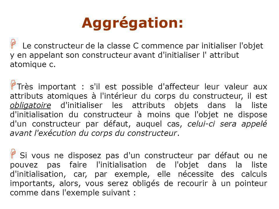 H Le constructeur de la classe C commence par initialiser l objet y en appelant son constructeur avant d initialiser l attribut atomique c.
