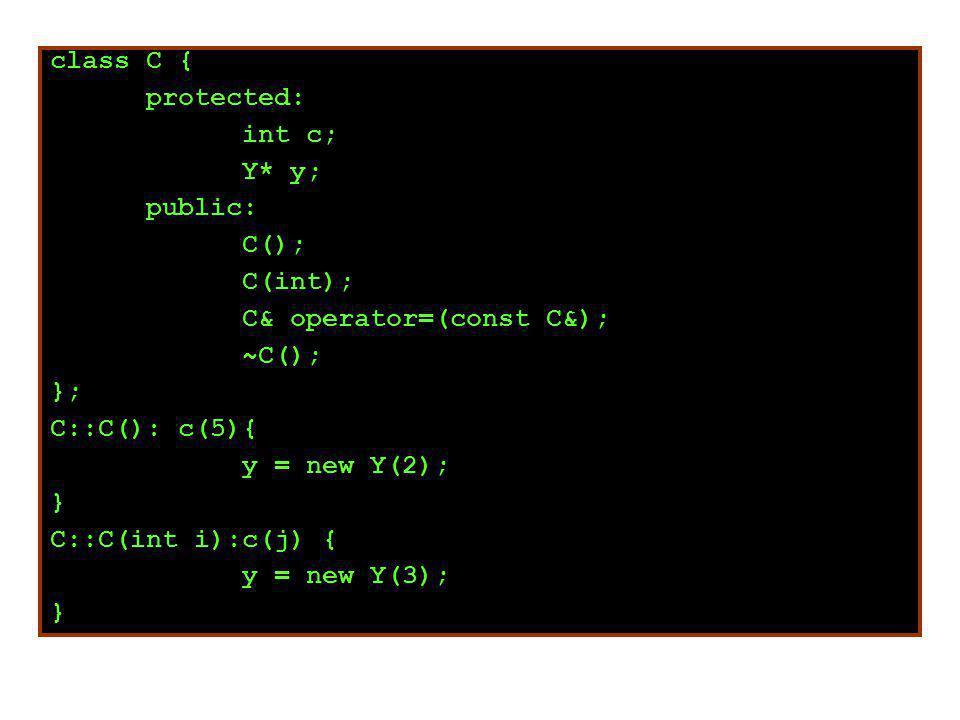 class C { protected: int c; Y* y; public: C(); C(int); C& operator=(const C&); ~C(); }; C::C(): c(5){ y = new Y(2); } C::C(int i):c(j) { y = new Y(3); }