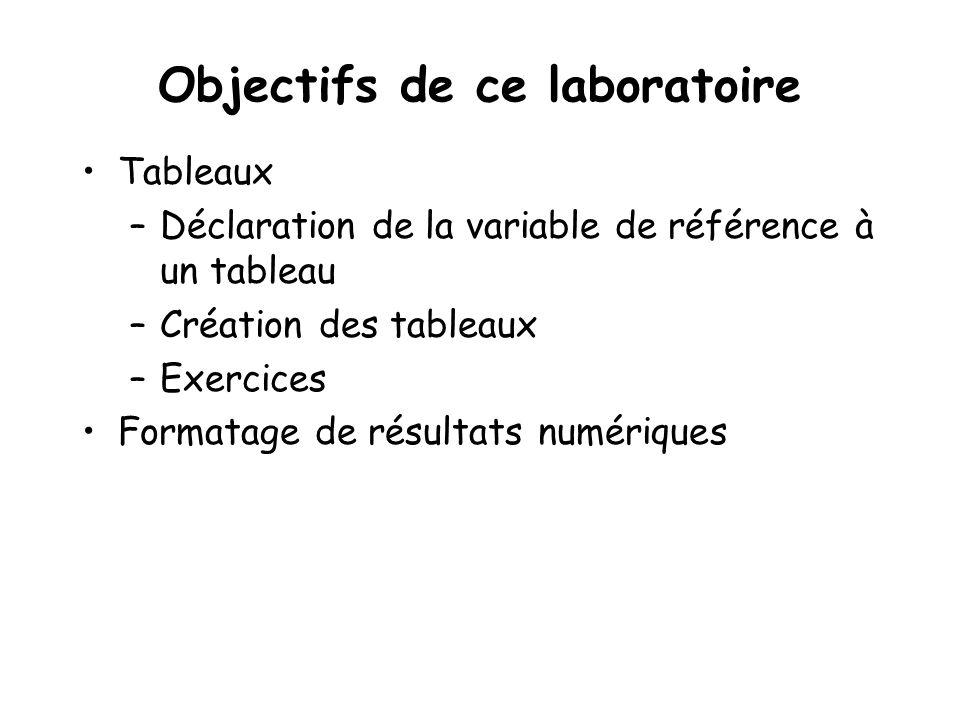 Objectifs de ce laboratoire Tableaux –Déclaration de la variable de référence à un tableau –Création des tableaux –Exercices Formatage de résultats nu