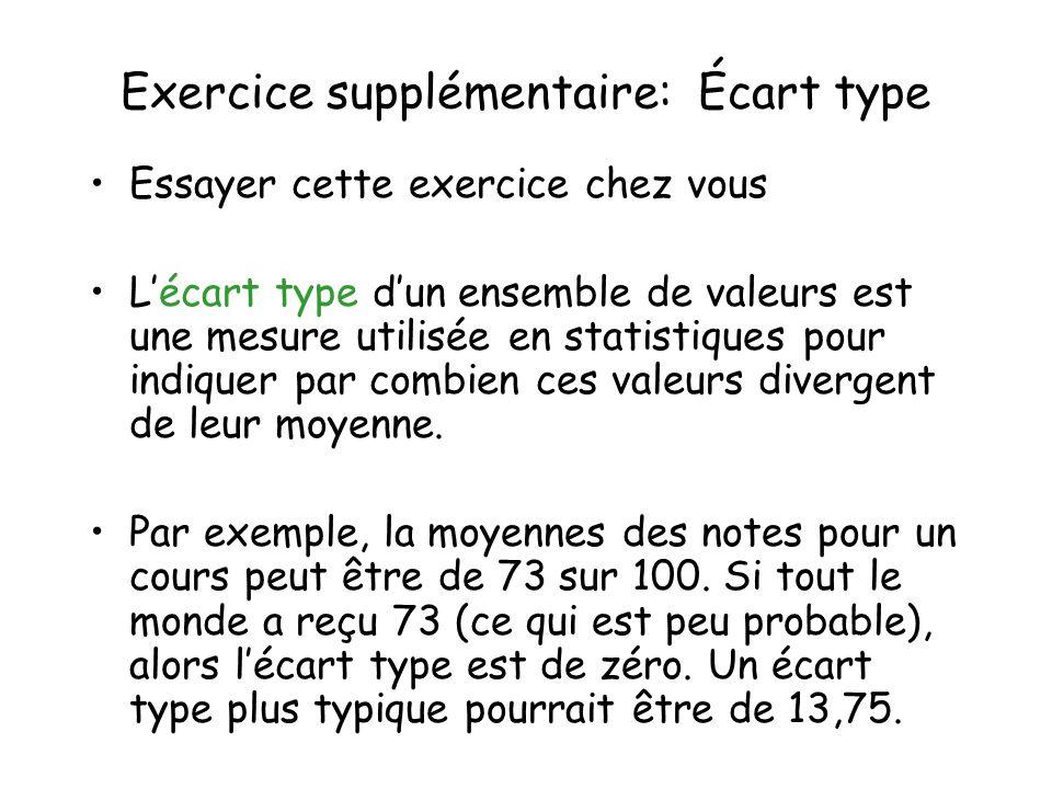 Exercice supplémentaire: Écart type Essayer cette exercice chez vous Lécart type dun ensemble de valeurs est une mesure utilisée en statistiques pour