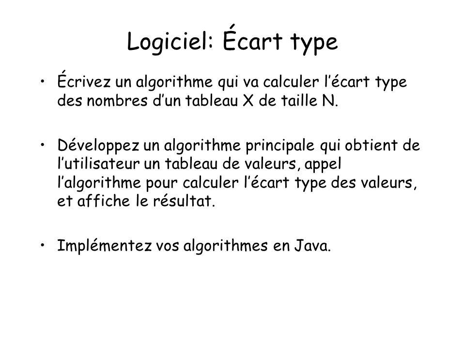 Logiciel: Écart type Écrivez un algorithme qui va calculer lécart type des nombres dun tableau X de taille N. Développez un algorithme principale qui