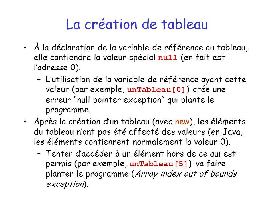 La création de tableau À la déclaration de la variable de référence au tableau, elle contiendra la valeur spécial null (en fait est ladresse 0). –Luti