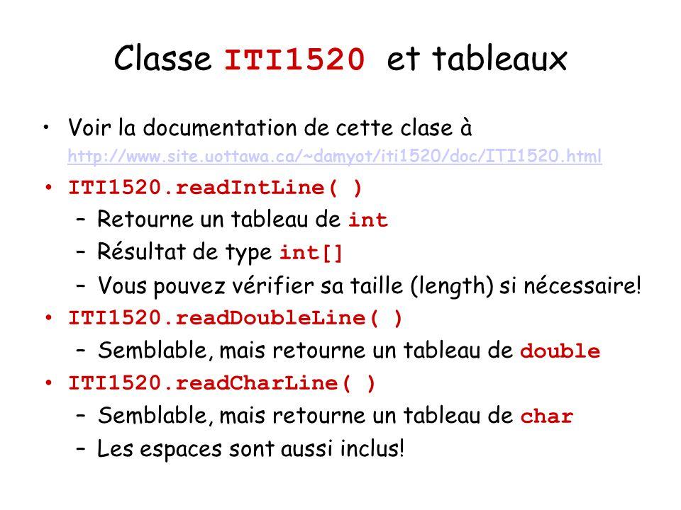 Exemples dutilisation de ITI1520 int x = ITI1520.readInt( ); Si vous entres 123 et appuyez ENTER, x sera affecter la valeur 123.