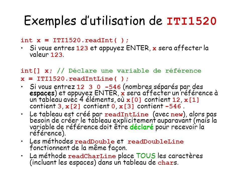 Exemples dutilisation de ITI1520 int x = ITI1520.readInt( ); Si vous entres 123 et appuyez ENTER, x sera affecter la valeur 123. int[] x; // Déclare u