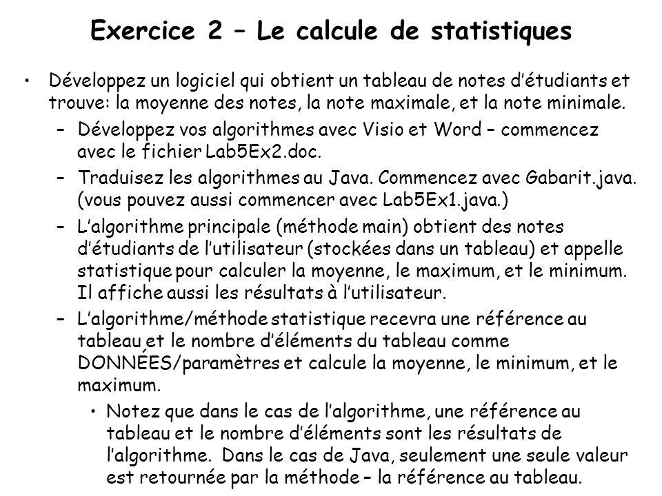 Exercice 2 – Le calcule de statistiques Développez un logiciel qui obtient un tableau de notes détudiants et trouve: la moyenne des notes, la note max