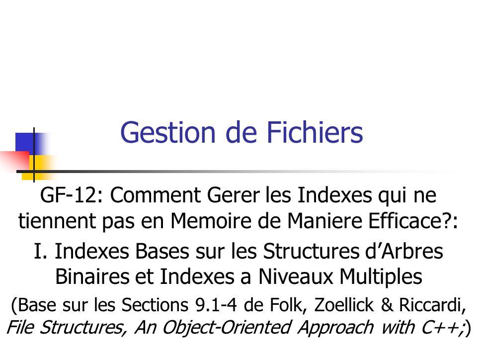 Gestion de Fichiers GF-12: Comment Gerer les Indexes qui ne tiennent pas en Memoire de Maniere Efficace?: I.