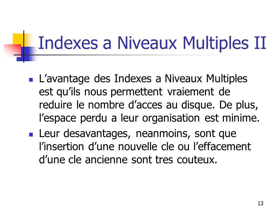 13 Indexes a Niveaux Multiples II Lavantage des Indexes a Niveaux Multiples est quils nous permettent vraiement de reduire le nombre dacces au disque.