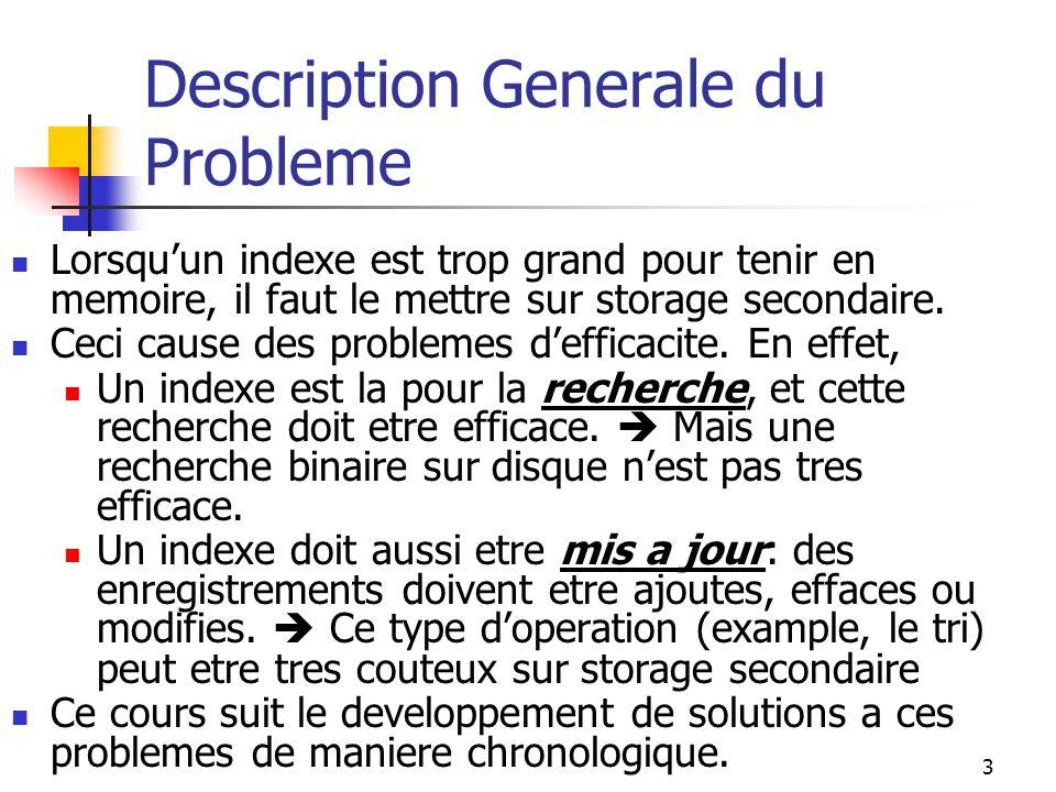 3 Description Generale du Probleme Lorsquun indexe est trop grand pour tenir en memoire, il faut le mettre sur storage secondaire.