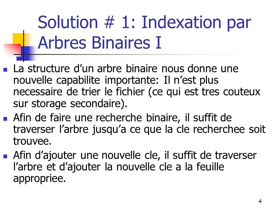 4 Solution # 1: Indexation par Arbres Binaires I La structure dun arbre binaire nous donne une nouvelle capabilite importante: Il nest plus necessaire de trier le fichier (ce qui est tres couteux sur storage secondaire).