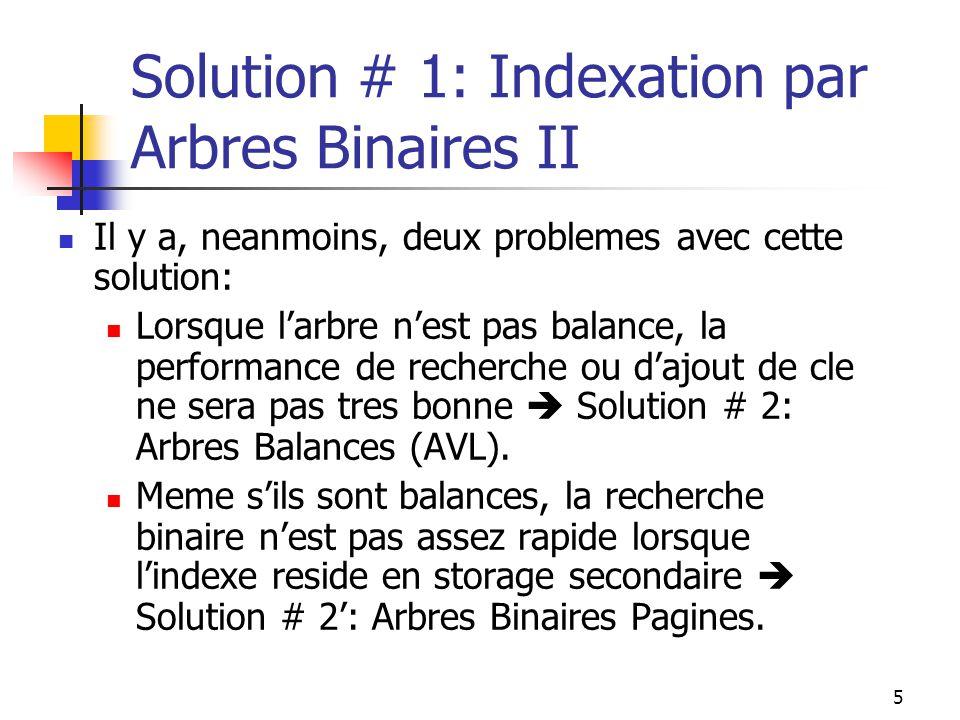 5 Solution # 1: Indexation par Arbres Binaires II Il y a, neanmoins, deux problemes avec cette solution: Lorsque larbre nest pas balance, la performance de recherche ou dajout de cle ne sera pas tres bonne Solution # 2: Arbres Balances (AVL).