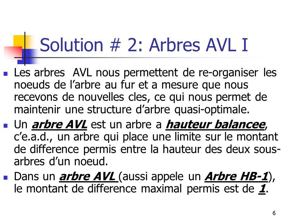 6 Solution # 2: Arbres AVL I Les arbres AVL nous permettent de re-organiser les noeuds de larbre au fur et a mesure que nous recevons de nouvelles cles, ce qui nous permet de maintenir une structure darbre quasi-optimale.