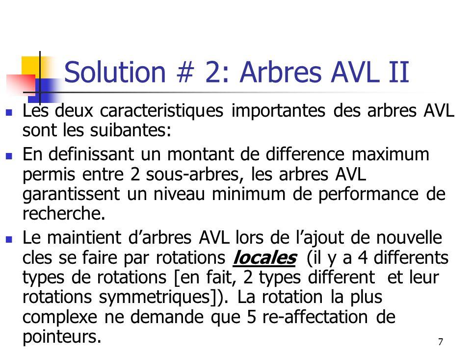 7 Solution # 2: Arbres AVL II Les deux caracteristiques importantes des arbres AVL sont les suibantes: En definissant un montant de difference maximum permis entre 2 sous-arbres, les arbres AVL garantissent un niveau minimum de performance de recherche.