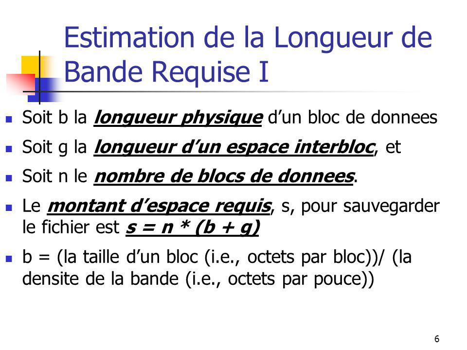 6 Estimation de la Longueur de Bande Requise I Soit b la longueur physique dun bloc de donnees Soit g la longueur dun espace interbloc, et Soit n le nombre de blocs de donnees.