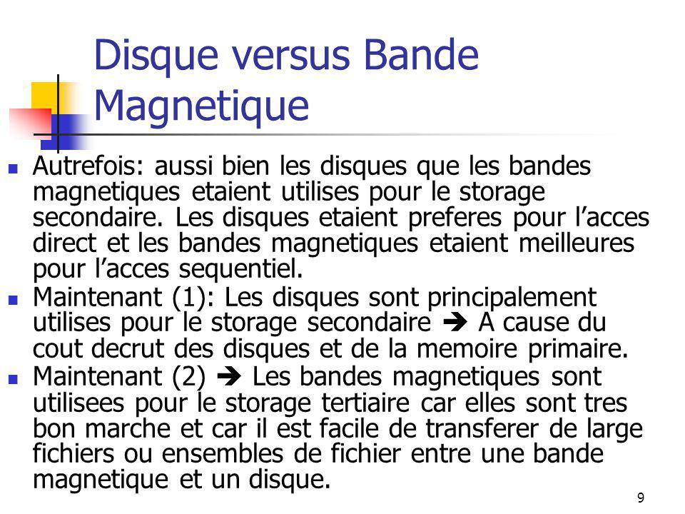 9 Disque versus Bande Magnetique Autrefois: aussi bien les disques que les bandes magnetiques etaient utilises pour le storage secondaire.