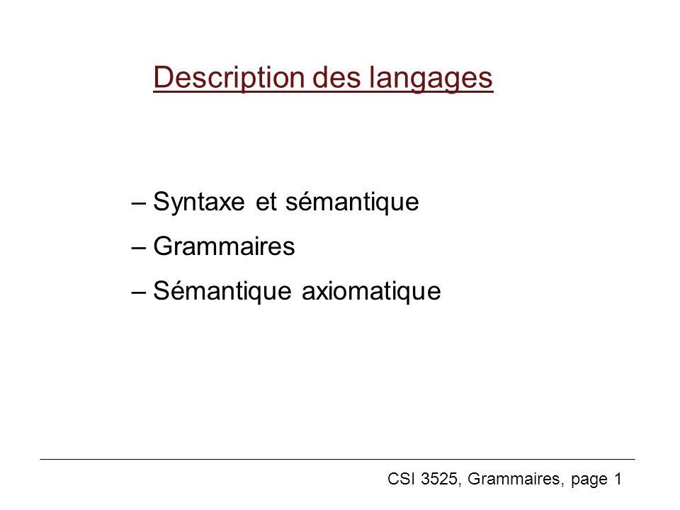 CSI 3525, Grammaires, page 1 Description des langages –Syntaxe et sémantique –Grammaires –Sémantique axiomatique