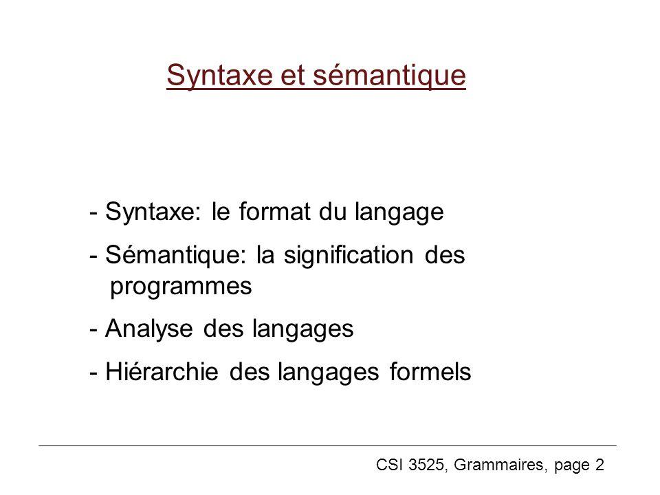 CSI 3525, Grammaires, page 2 Syntaxe et sémantique - Syntaxe: le format du langage - Sémantique: la signification des programmes - Analyse des langage