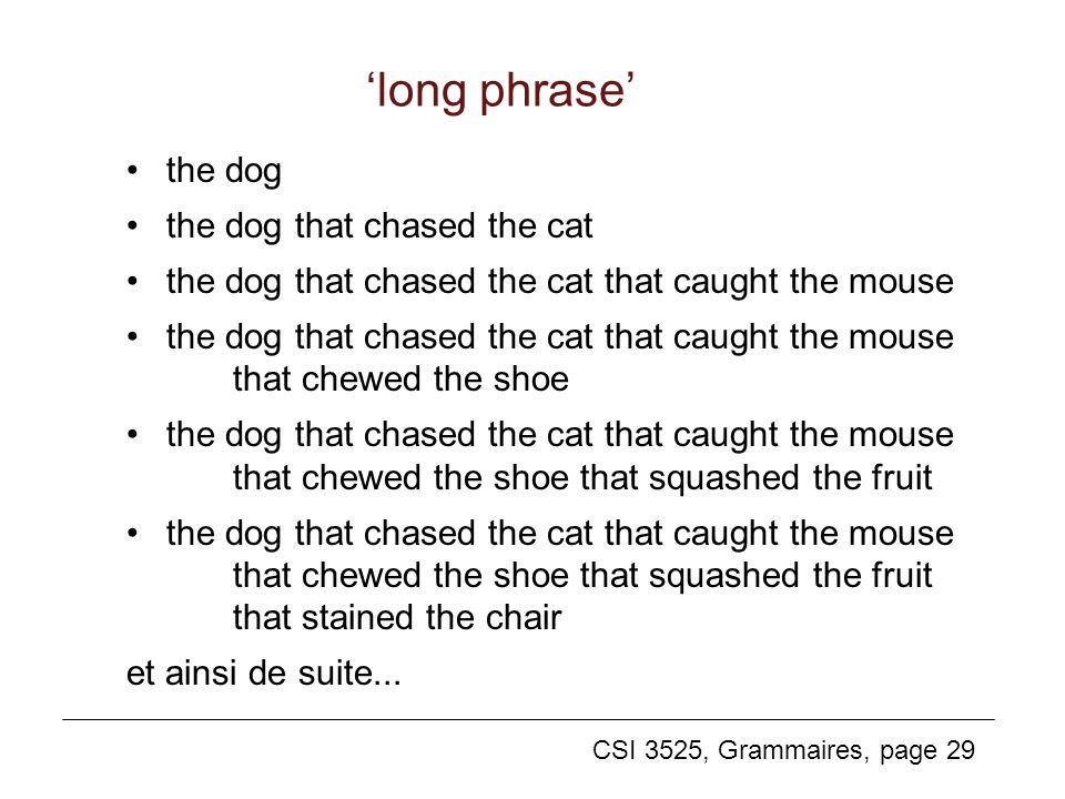 CSI 3525, Grammaires, page 29 long phrase the dog the dog that chased the cat the dog that chased the cat that caught the mouse the dog that chased the cat that caught the mouse that chewed the shoe the dog that chased the cat that caught the mouse that chewed the shoe that squashed the fruit the dog that chased the cat that caught the mouse that chewed the shoe that squashed the fruit that stained the chair et ainsi de suite...