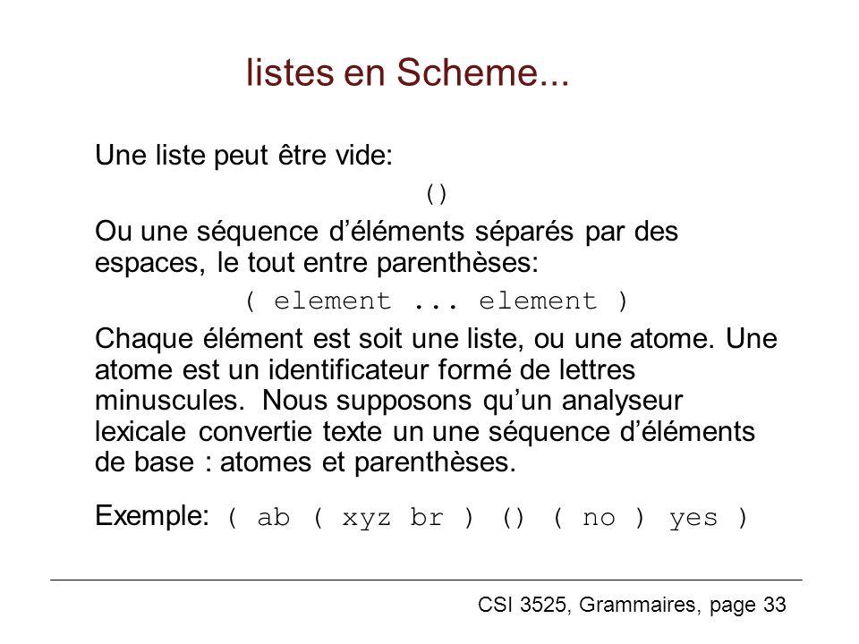 CSI 3525, Grammaires, page 33 listes en Scheme... Une liste peut être vide: () Ou une séquence déléments séparés par des espaces, le tout entre parent