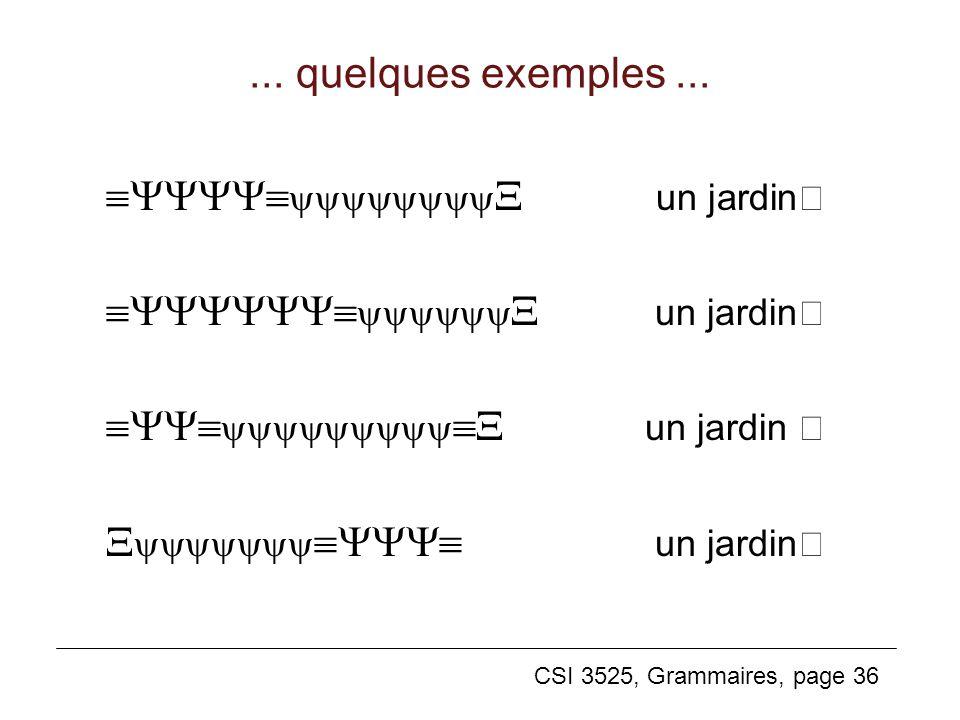 CSI 3525, Grammaires, page 36... quelques exemples... un jardin