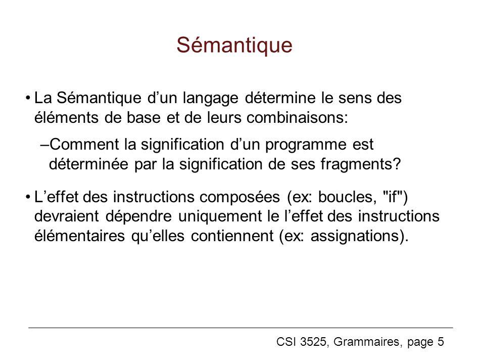 CSI 3525, Grammaires, page 5 Sémantique La Sémantique dun langage détermine le sens des éléments de base et de leurs combinaisons: –Comment la signifi
