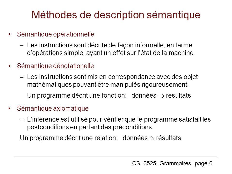 CSI 3525, Grammaires, page 6 Méthodes de description sémantique Sémantique opérationnelle –Les instructions sont décrite de façon informelle, en terme