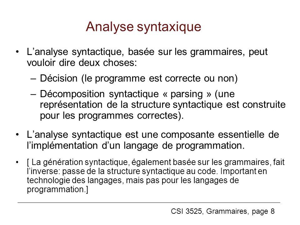 CSI 3525, Grammaires, page 8 Analyse syntaxique Lanalyse syntactique, basée sur les grammaires, peut vouloir dire deux choses: –Décision (le programme