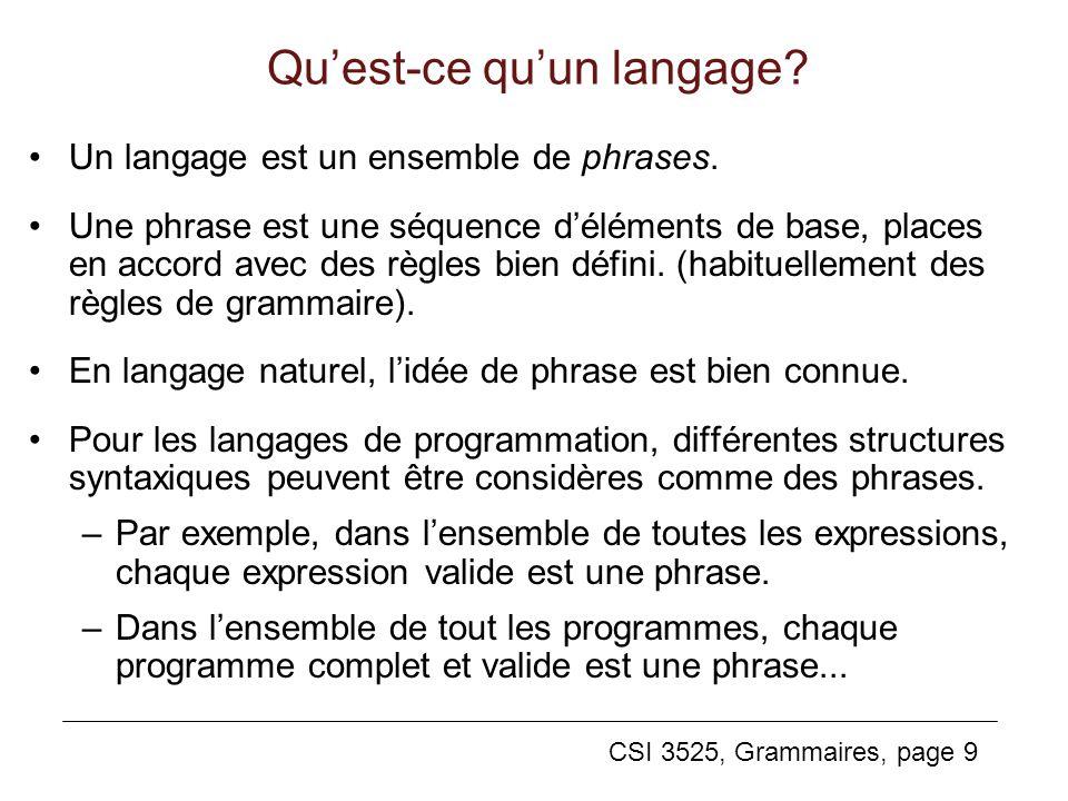CSI 3525, Grammaires, page 9 Quest-ce quun langage? Un langage est un ensemble de phrases. Une phrase est une séquence déléments de base, places en ac
