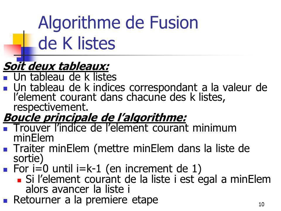 10 Algorithme de Fusion de K listes Soit deux tableaux: Un tableau de k listes Un tableau de k indices correspondant a la valeur de lelement courant dans chacune des k listes, respectivement.