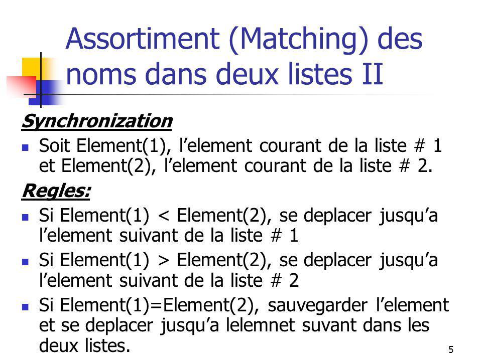 5 Assortiment (Matching) des noms dans deux listes II Synchronization Soit Element(1), lelement courant de la liste # 1 et Element(2), lelement courant de la liste # 2.