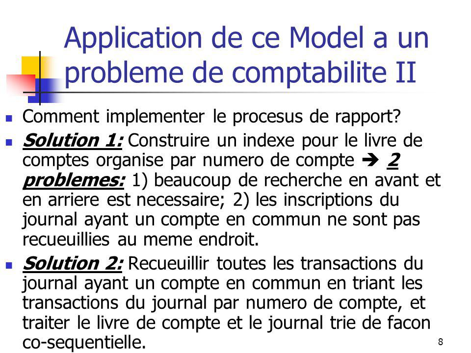8 Application de ce Model a un probleme de comptabilite II Comment implementer le procesus de rapport.