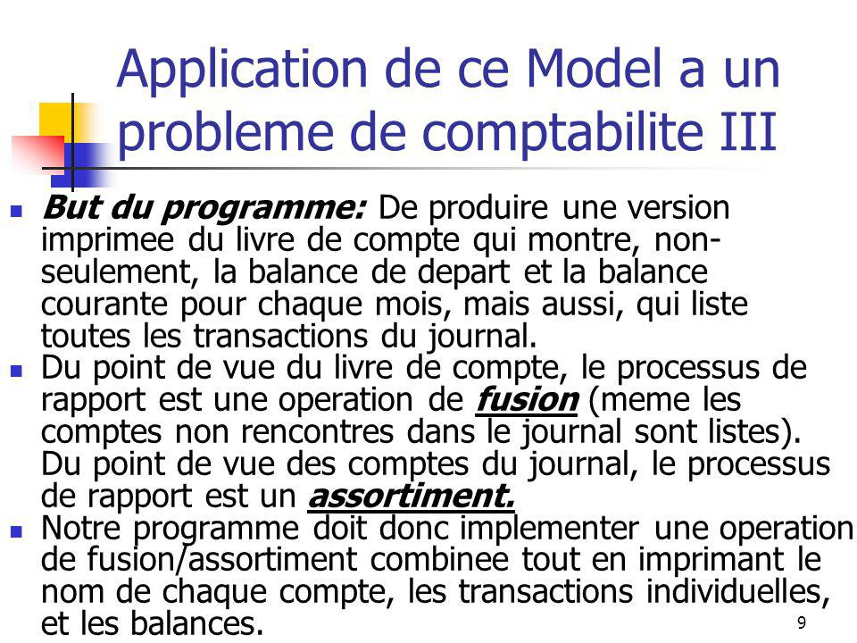 9 Application de ce Model a un probleme de comptabilite III But du programme: De produire une version imprimee du livre de compte qui montre, non- seulement, la balance de depart et la balance courante pour chaque mois, mais aussi, qui liste toutes les transactions du journal.