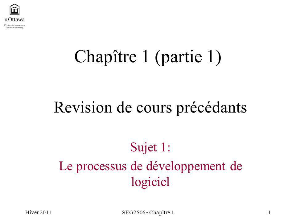 Hiver 2011SEG2506 - Chapître 11 Chapître 1 (partie 1) Revision de cours précédants Sujet 1: Le processus de développement de logiciel