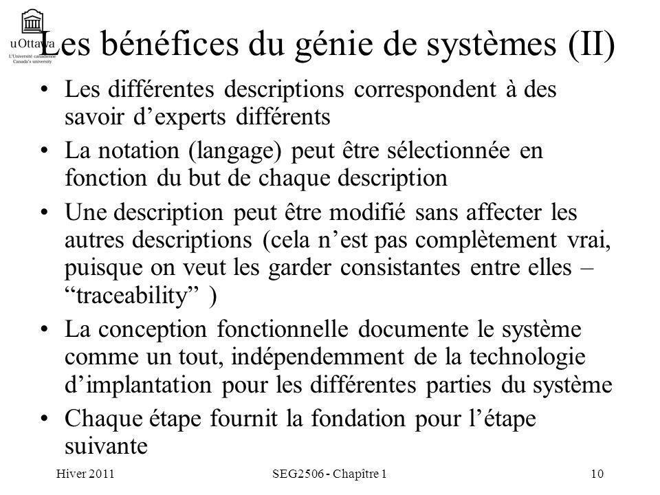 Hiver 2011SEG2506 - Chapître 110 Les bénéfices du génie de systèmes (II) Les différentes descriptions correspondent à des savoir dexperts différents L