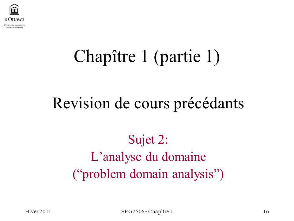Hiver 2011SEG2506 - Chapître 116 Chapître 1 (partie 1) Revision de cours précédants Sujet 2: Lanalyse du domaine (problem domain analysis)