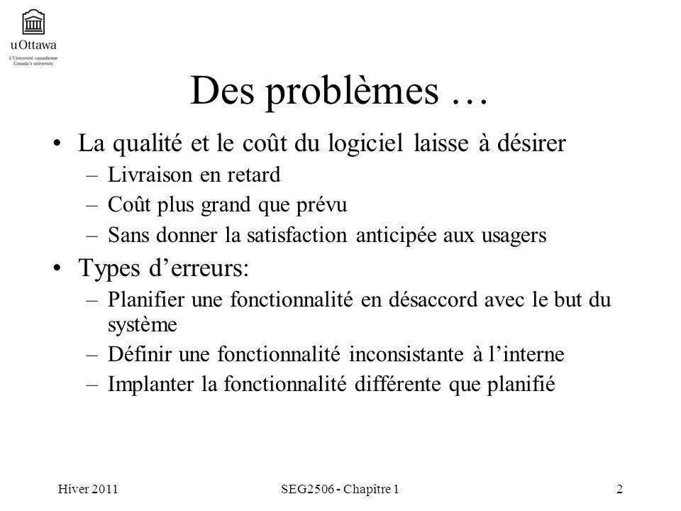 Hiver 2011SEG2506 - Chapître 12 Des problèmes … La qualité et le coût du logiciel laisse à désirer –Livraison en retard –Coût plus grand que prévu –Sa