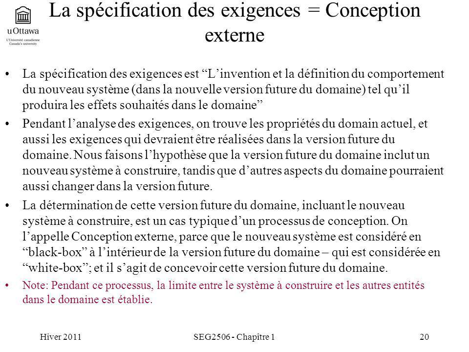 Hiver 2011SEG2506 - Chapître 120 La spécification des exigences = Conception externe La spécification des exigences est Linvention et la définition du