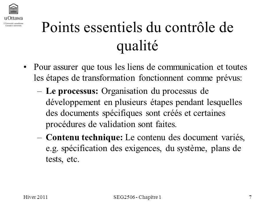 Hiver 2011SEG2506 - Chapître 17 Points essentiels du contrôle de qualité Pour assurer que tous les liens de communication et toutes les étapes de tran