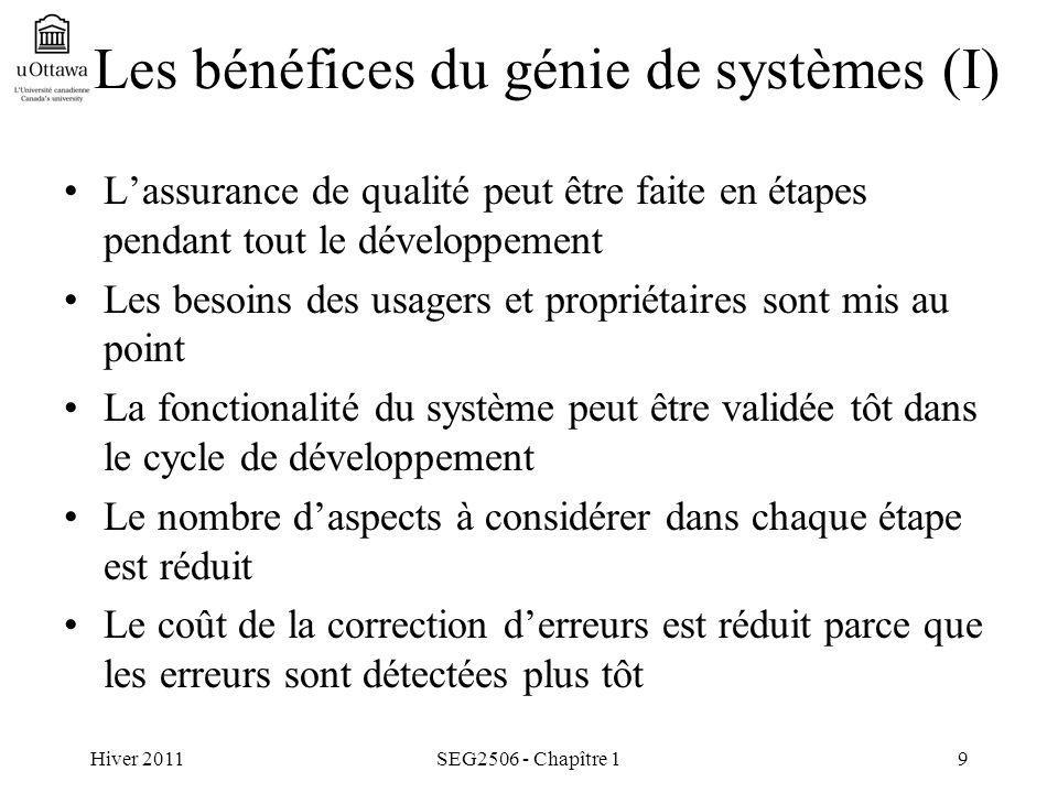 Hiver 2011SEG2506 - Chapître 19 Les bénéfices du génie de systèmes (I) Lassurance de qualité peut être faite en étapes pendant tout le développement L